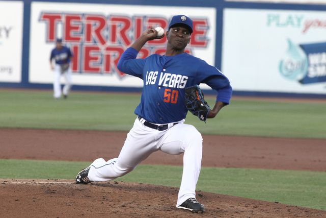 Las Vegas 51s pitcher Rafael Montero winds up for a pitch during the 51s 16-8 victory over the Sacramento River Cats at Cashman Field in Las Vegas on Saturday, June 25, 2016. Loren Townsley/Las Ve ...