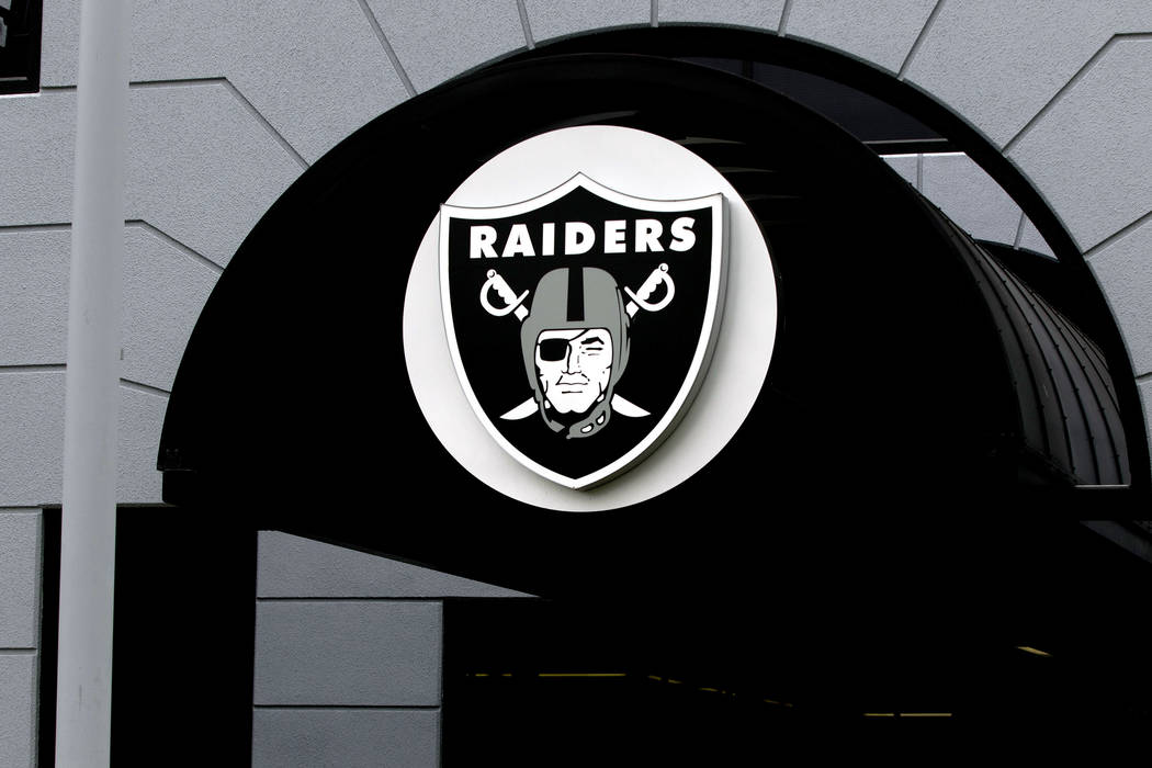 The team logo adorns the entrance to the Oakland Raiders facility in Alameda, Calif., on April 17, 2017. Heidi Fang/Las Vegas Review-Journal @HeidiFang