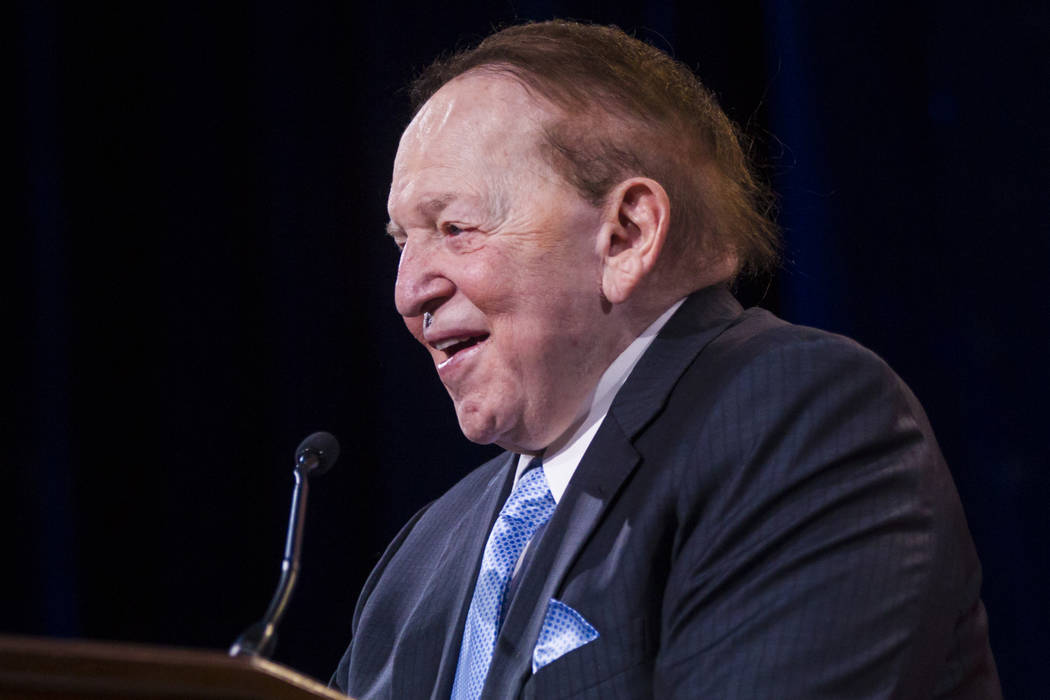 Las Vegas Sands Corp. Chairman and CEO Sheldon Adelson speaks during the Adelson Educational Campus' 13th annual In Pursuit of Excellence Gala at The Venetian hotel-casino in Las Vegas on Sunday,  ...