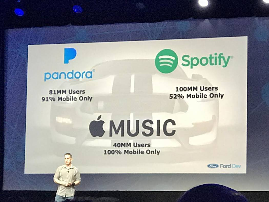 Scott Burnell of Ford Motor Co. on Tuesday, April 25, 2017, addresses radio industry professionals at a lunch dedicated to the future of radio in the connected car. Todd Prince/Las Vegas Review-Jo ...