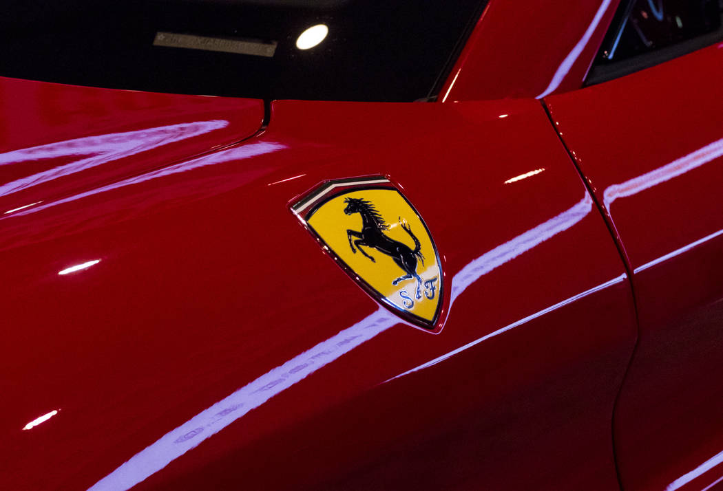Exterior detail on a 2016 red Ferrari at the National Association of Broadcasters Show in Las Vegas on Wednesday, April 26, 2017. Miranda Alam Las Vegas Review-Journal @miranda_alam