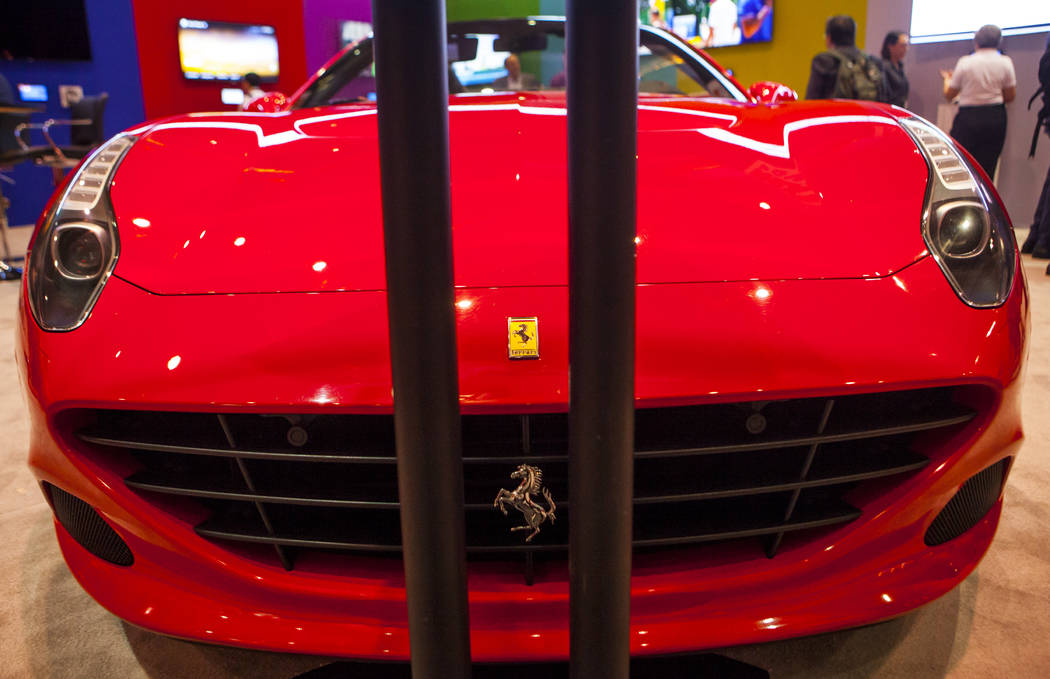 A 2016 red Ferrari at the National Association of Broadcasters Show in Las Vegas on Wednesday, April 26, 2017. Miranda Alam Las Vegas Review-Journal @miranda_alam