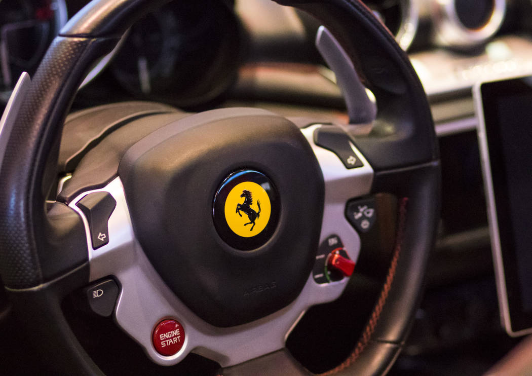 The steering wheel of a 2016 red Ferrari at the National Association of Broadcasters Show in Las Vegas on Wednesday, April 26, 2017. Miranda Alam Las Vegas Review-Journal @miranda_alam