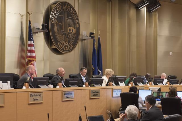 Las Vegas City Council members and Mayor Carolyn Goodman, seen in 2016  (Jason Ogulnik/Las Vegas Review-Journal)