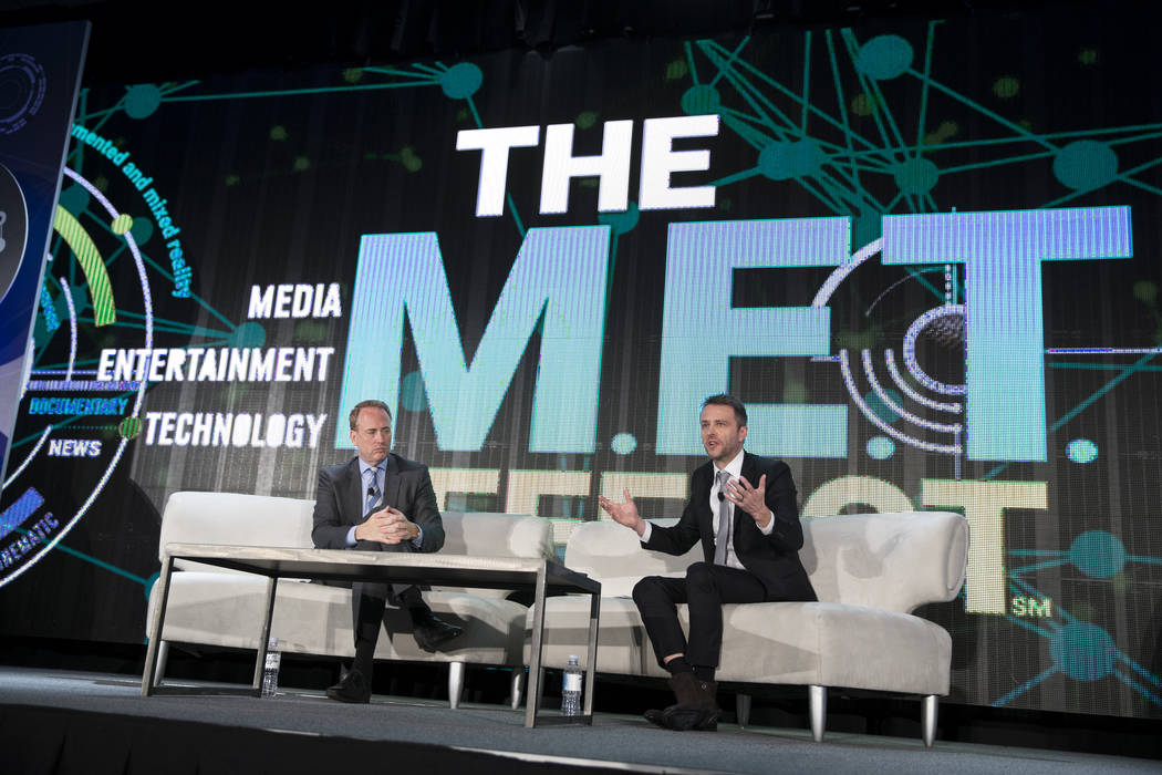 NBC Chairman Robert Greenblatt, left, is interviewed by TV host Chris Hardwick, during the National Association of Broadcasters conference at the Las Vegas Convention Center on Tuesday, April 25,  ...