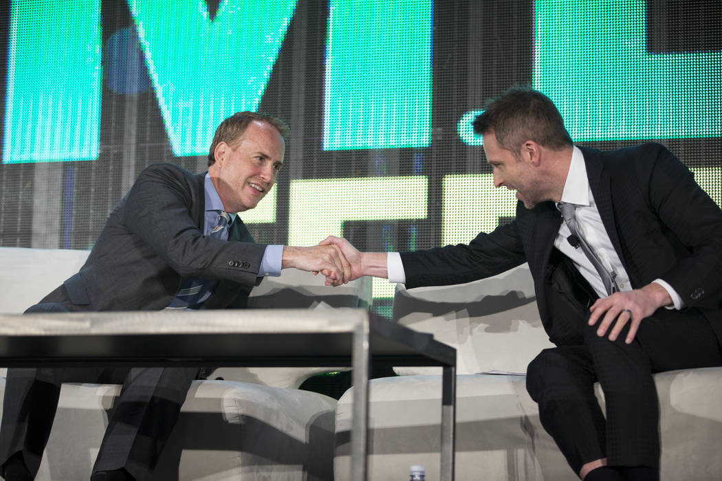 NBC Chairman Robert Greenblatt, left, and TV host Chris Hardwick, at the end of their interview in the National Association of Broadcasters conference at the Las Vegas Convention Center on Tuesday ...