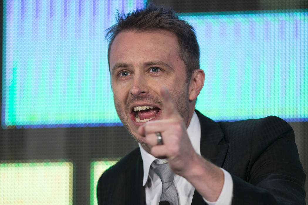 TV host Chris Hardwick during an interview with NBC Chairman Robert Greenblatt, not pictured, in the National Association of Broadcasters conference at the Las Vegas Convention Center on Tuesday,  ...