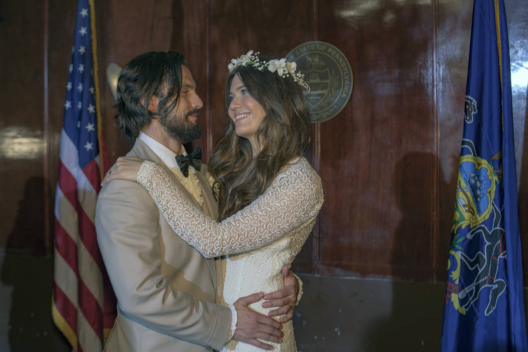 Milo Ventimiglia as Jack Pearson, Mandy Moore as Rebecca Pearson on This Is Us