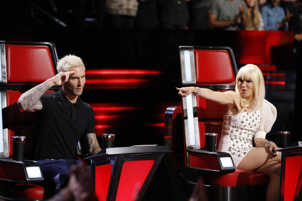 Adam Levine and Gwen Stefani on The Voice Trae Patton NBC
