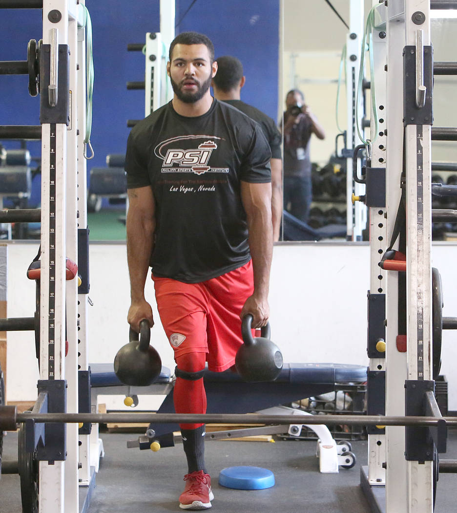 Andrew Price, former UNLV football player who has entered the draft, exercises at Philippi Sports Institute on Tuesday, April 25, 2017, in Las Vegas. Bizuayehu Tesfaye Las Vegas Review-Journal@biz ...