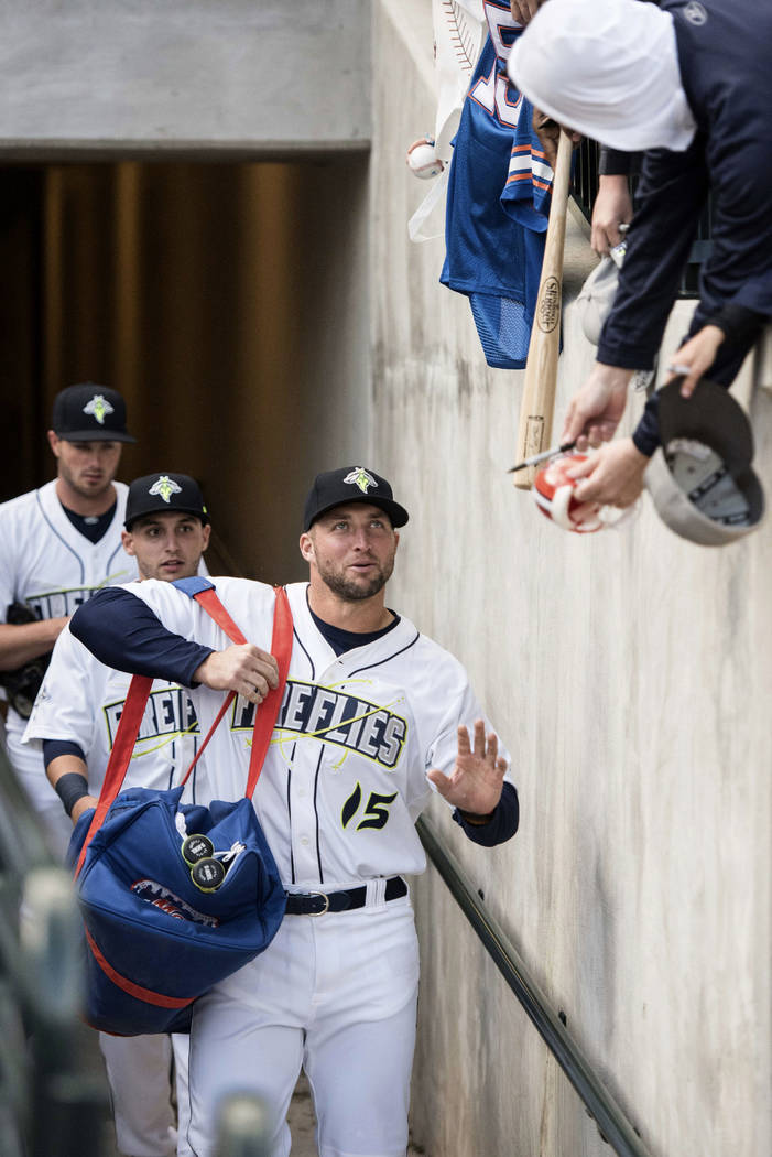best cheap 9d8b2 990e6 Tim Tebow has his best week in minors, gets 6 hits | Las ...