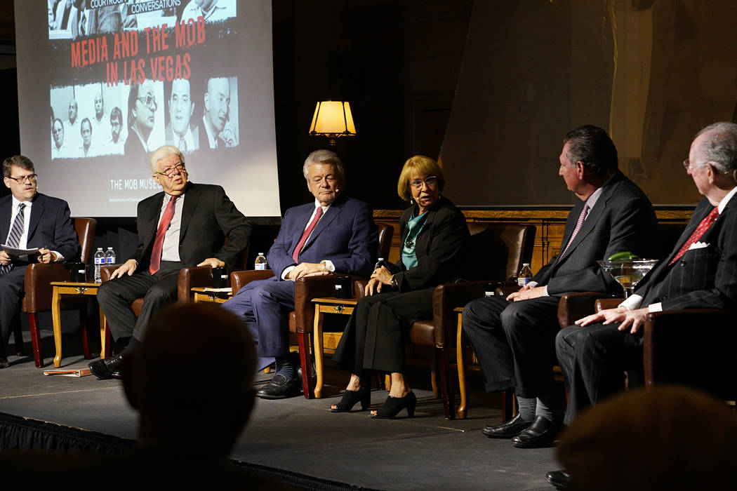During the April 4 panel at the Mob Museum, stories of the1970s and 1980s were shared by the people who were there. Moderator Geoff Schumacher questioned journalists from that era - Bob Stoldal, G ...