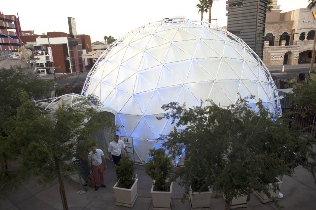 Outside view of the Dome Thursday, April 27, 2017, a 360 theatre that will be showing six different films to the public at the Container Park in Downtown Las Vegas. Rachel Aston Las Vegas Review-J ...