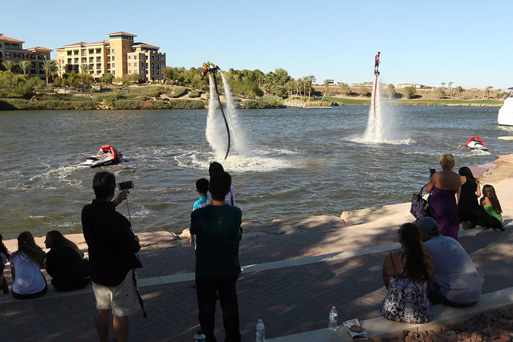 Lake Las Vegas is full of activity today with a variety of water sports for the grand opening of Lake Las Vegas Water Sports and the MonteLago Village Beerfest. (Josh Metz)