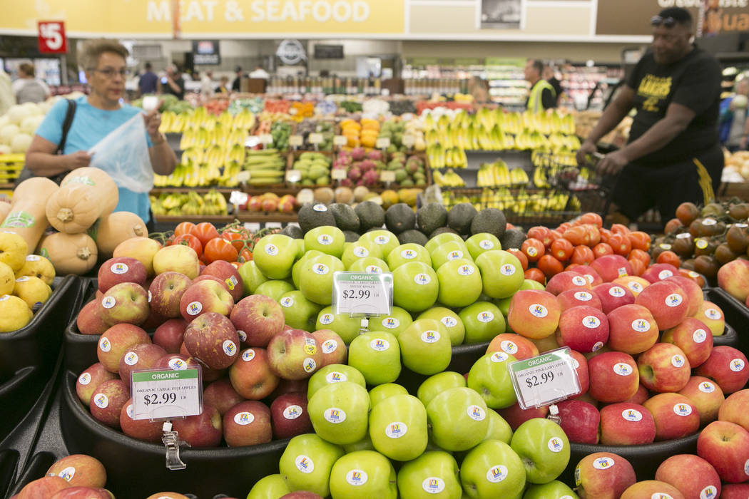 Customers browse through the produce during the grand opening of Albertsons on Blue Diamond Road on Wednesday, April 26, 2017, in Las Vegas. Bridget Bennett  Las Vegas Review-Journal @bridgetkbennett