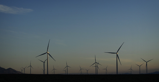 Turbine towers as tall as the Palms reach into the sky at the Spring Valley Wind Energy facility near Great Basin National Park in eastern Nevada on Aug. 14, 2014. The wind farm is facing renewed  ...