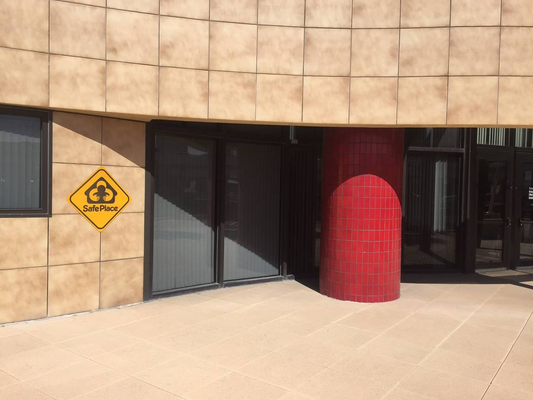 """A """"Safe Place"""" sign posted at the front of Fire Station 1, 500 N. Casino Center Blvd, on Tuesday, April 25, 2017. Blake Apgar Las Vegas Review-Journal @blakeapgar"""