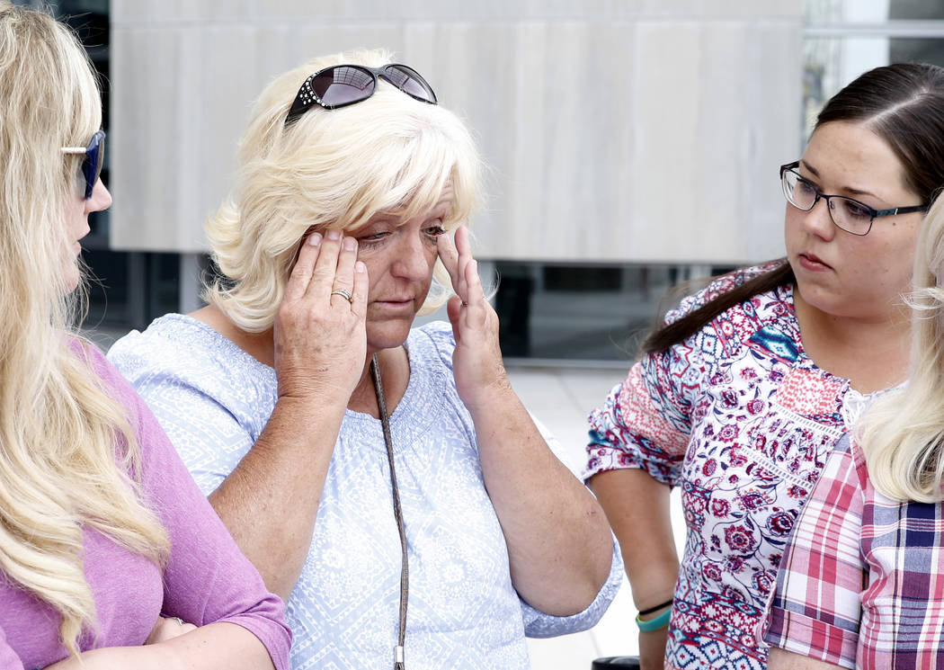 Lillie Spencer, left, sister of rancher Cliven Bundy, and her niece Stetsy Cox, right, outside the Lloyd George U.S. Courthouse on Monday, April 24, 2017, in Las Vegas. Bizuayehu Tesfaye Las Vegas ...