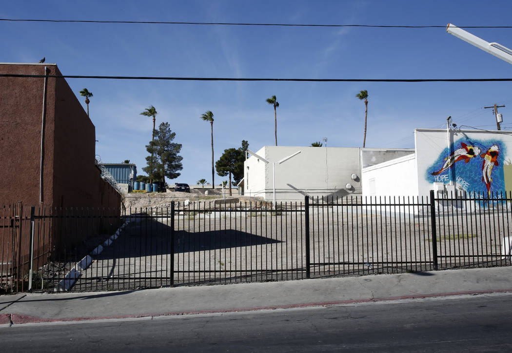 Foremaster Lane, between Main Street and Las Vegas Boulevard on Thursday, April 27, 2017, in Las Vegas. The city of Las Vegas has been acquiring land on the south side of Foremaster Lane. Bizuayeh ...