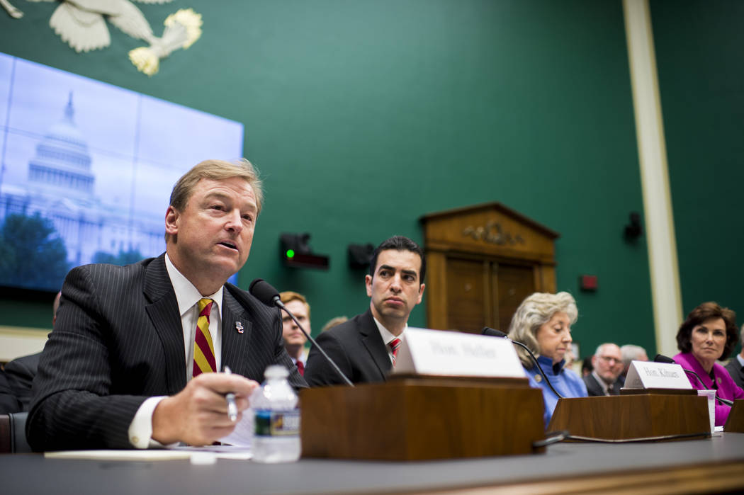 Sen. Dean Heller, R-Nev., from left, Rep. Ruben Kihuen, D-Nev., Rep. Dina Titus, D-Nev., and Rep. Jacky Rosen, D-Nev., unite in opposition to using Yucca Mountain as a nuclear waste disposal site  ...