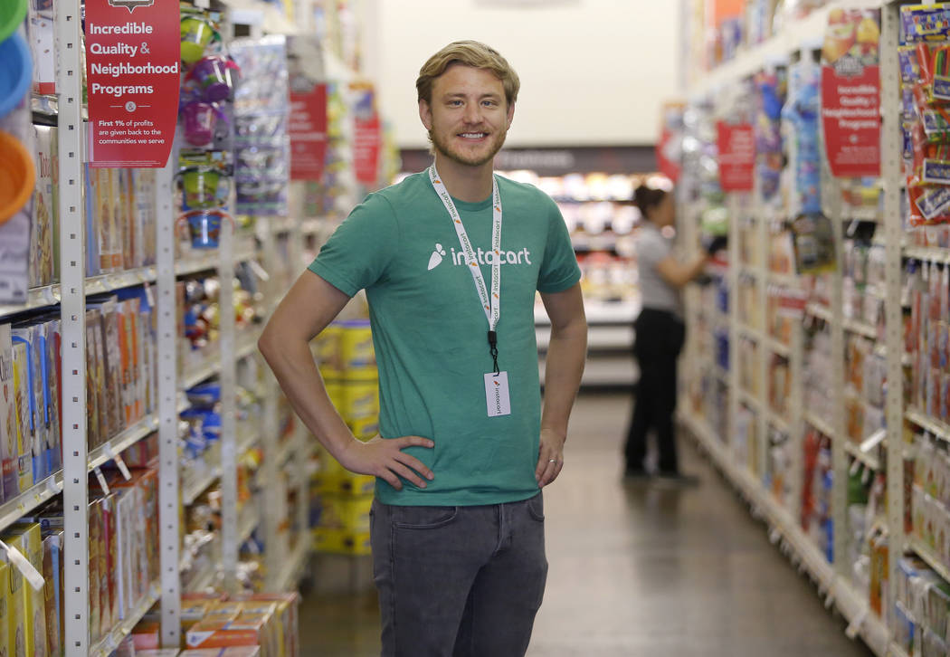 Instacart's Operations Manager David Holyoak at the Smart and Final grocery store located at 1941 North Decatur Boulevard on Wednesday, April 26, 2017, in Las Vegas. The company is a grocery deliv ...