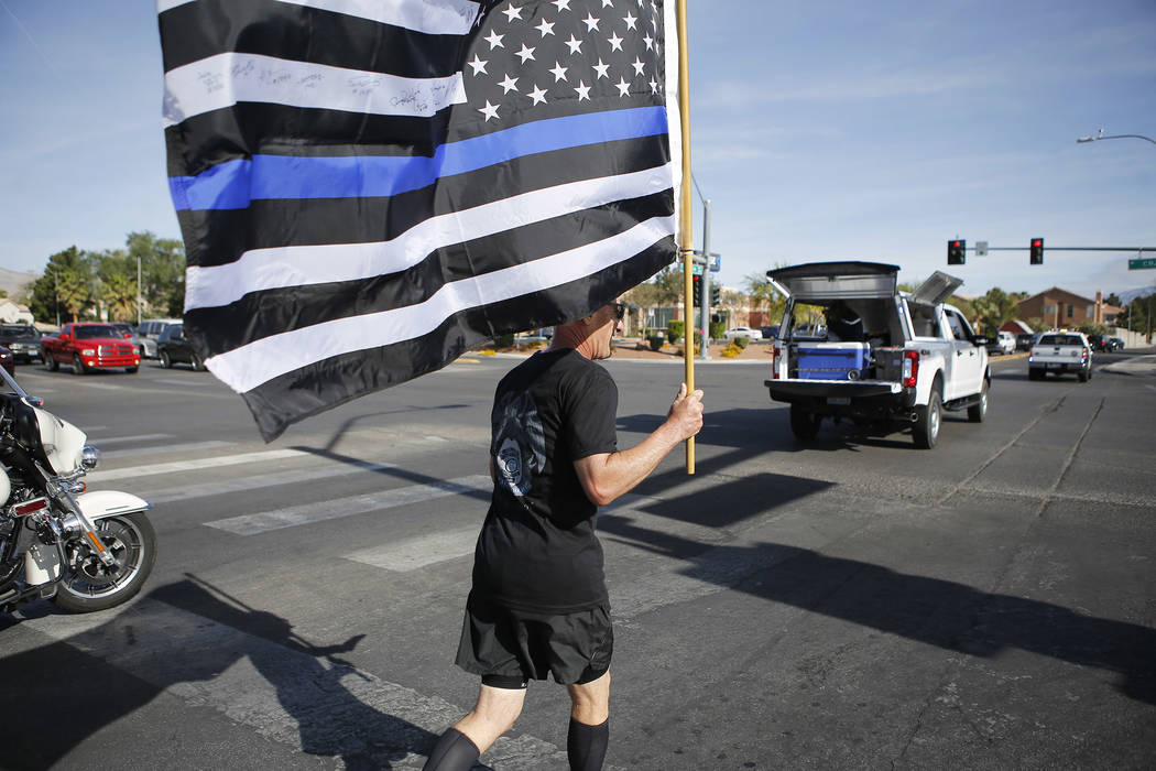 Retired North Las Vegas police chief Joseph Forti, 62, runs during the18th annual Nevada law enforcement officers memorial run on Wednesday, April 26, 2017, in Las Vegas. Forti usually runs the ro ...