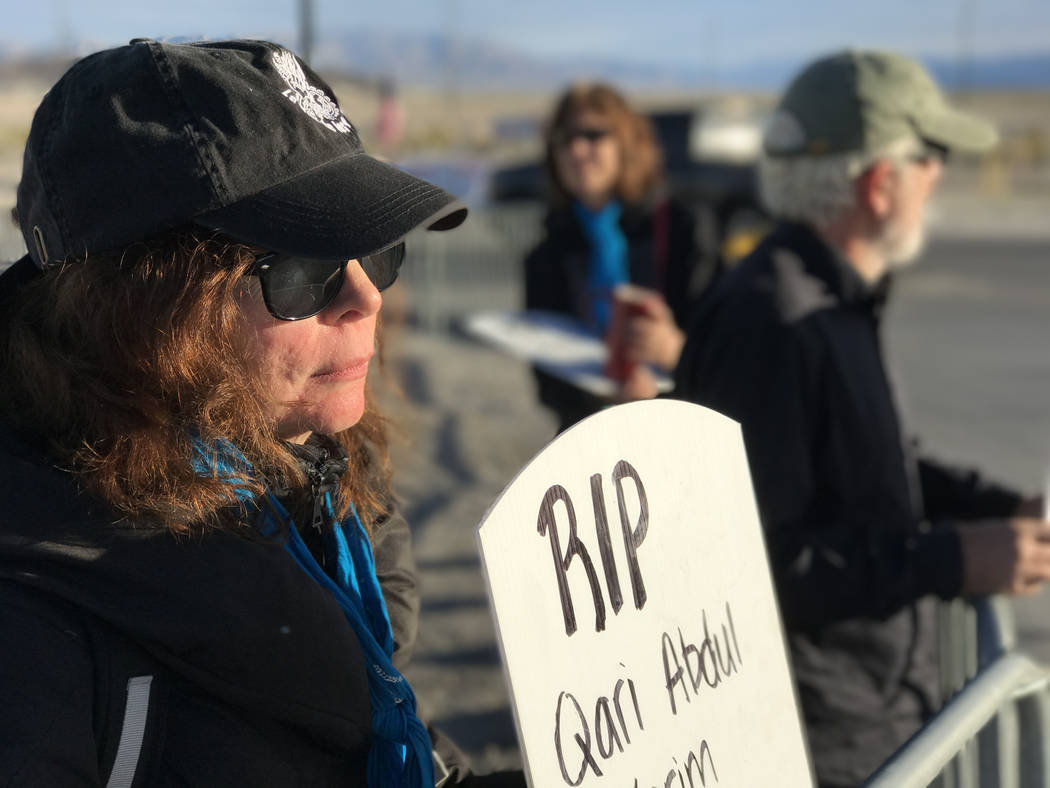 Mary Dean of World Beyond War traveled from Chicago to join anti-drone warfare protesters, Wednesday, April 26, 2017, at Creech Air Force Base, northwest of Las Vegas. Keith Rogers/Las Vegas Revie ...