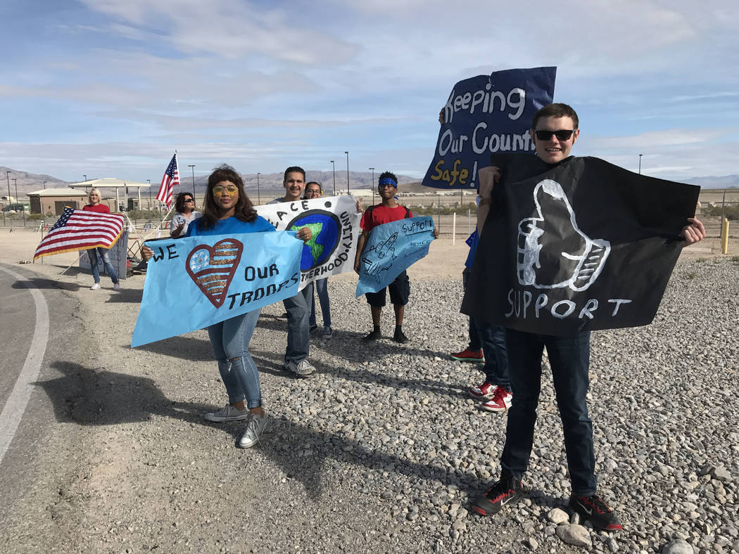 Students from Word of Life Christian Academy show their support for troops, Wednesday, April 26, 2017, at Creech Air Force Base, northwest of Las Vegas. Keith Rogers Las Vegas Review-Journal