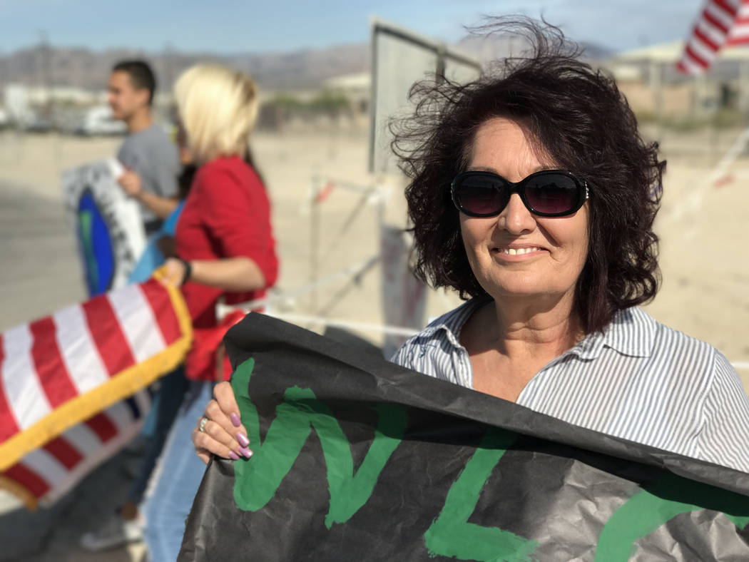 Word of Life Academy principal Kelly Marchello at Creech Air Force Base's entrance, northwest of Las Vegas, Wednesday, April 26, 2017. Keith Rogers Las Vegas Review-Journal