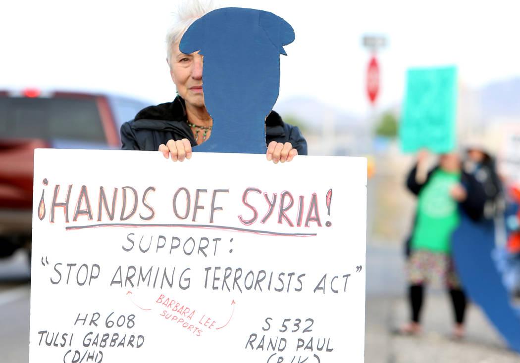 Anti-drone warfare protester, GG Winter, outside Creech Air Force Base at Indian Springs on Monday, April 24, 2017. Bizuayehu Tesfaye Las Vegas Review-Journal @bizutesfaye