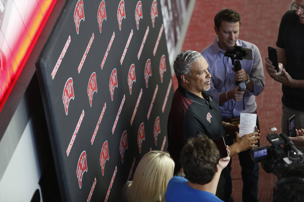 UNLV basketball coach Marvin Menzies speaks to members of the media at the Mendenhall Center on Wednesday, April 26, 2017, in Las Vegas. Menzies discusses his recruiting class. Christian K. Lee La ...