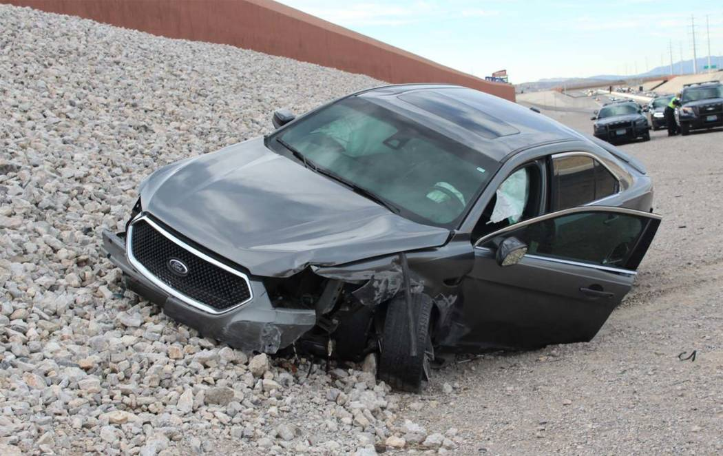 The driver involved in this single-car crash on April 6, 2017, on the 215 Beltway near Charleston Boulevard died of his injuries on Wednesday, April 25. Nevada Highway Patrol