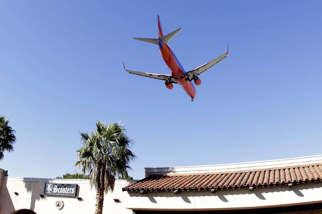 A Southwest Airlines plane approaches McCarran International Airport on Wednesday, Feb. 15, 2017, in Las Vegas. Bizuayehu Tesfaye Las Vegas Review-Journal @bizutesfaye