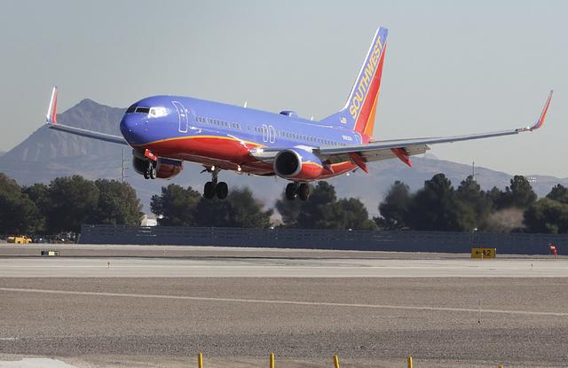 A Southwest Airlines plane prepares to land at McCarran International Airport on Wednesday, Feb. 15, 2017, in Las Vegas. Bizuayehu Tesfaye Las Vegas Review-Journal @bizutesfaye