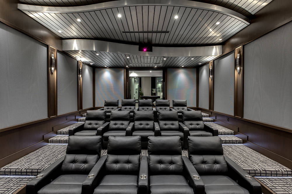The home theater. (Growth Luxury Homes)