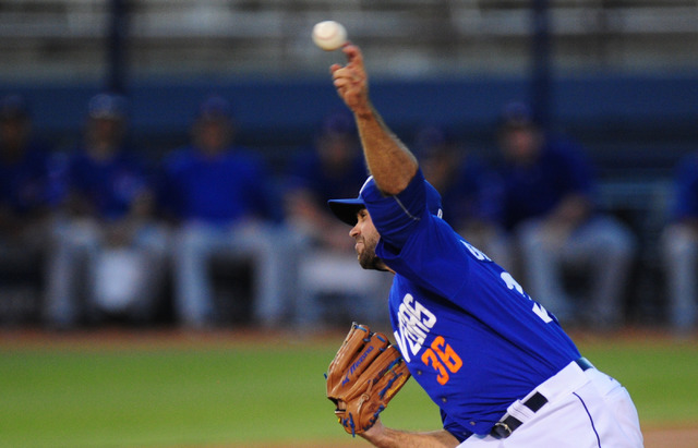 Las Vegas starting pitcher Sean Gilmartin delivers to Round Rock in the first inning at Cashman Field in Las Vegas Tuesday, Aug. 16, 2016. Las Vegas won 7-5 in 12 innings. (Josh Holmberg/Las Vegas ...