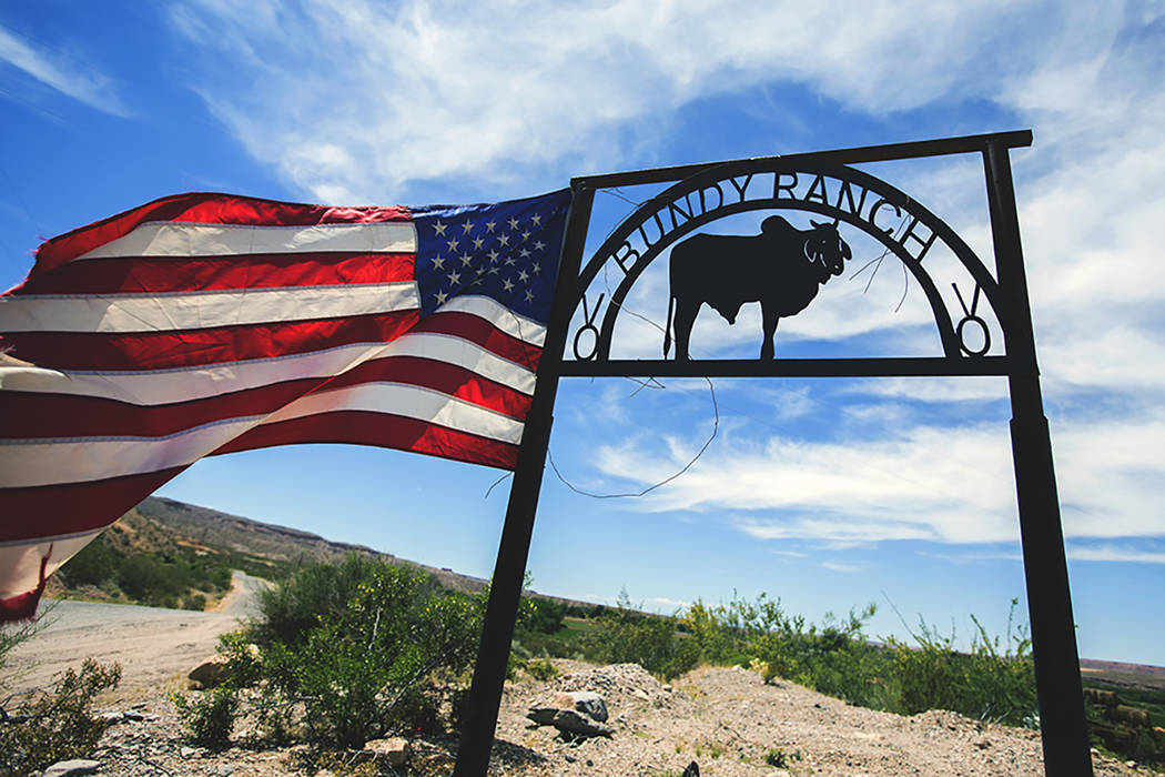 A Bundy Ranch sign near Bunkerville greets visitors in 2016. (Las Vegas Review-Journal)