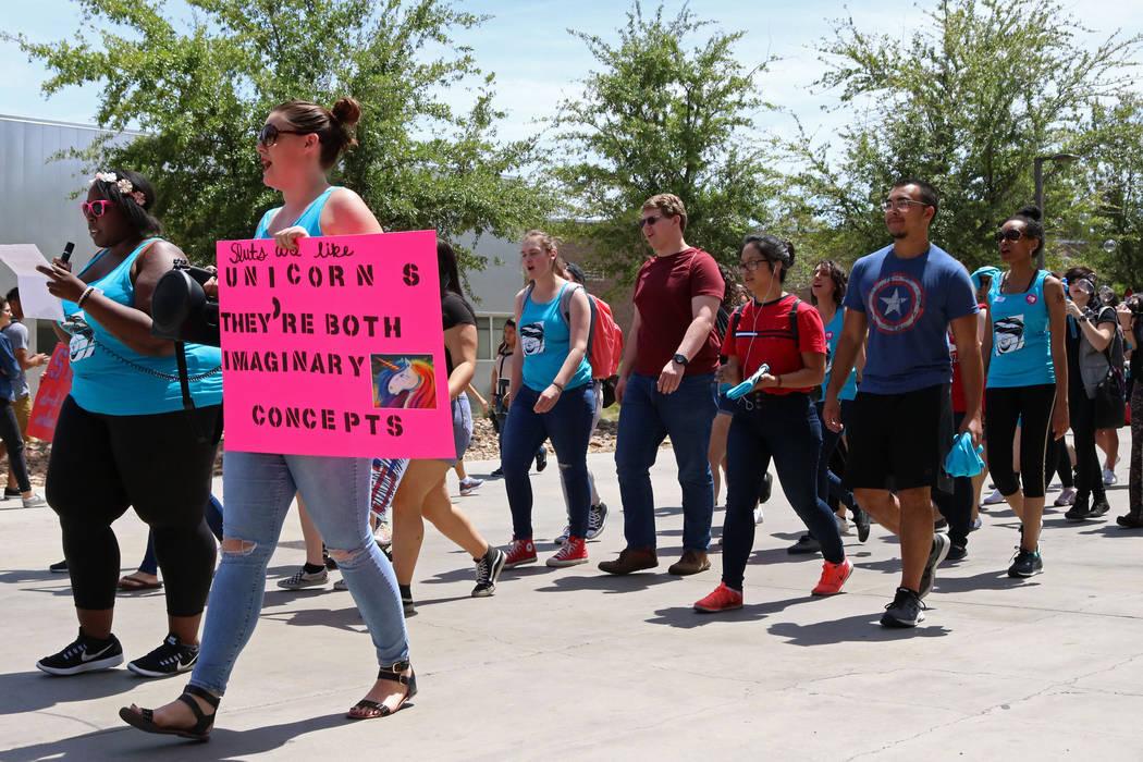 "Event coordinators Jovanah Watkins, left, and Holly Lamella lead ""No More Shame Slut Walk"" at the UNLV campus, Wednesday, April 26, 2017. Gabriella Benavidez Las Vegas Review-Jou ..."