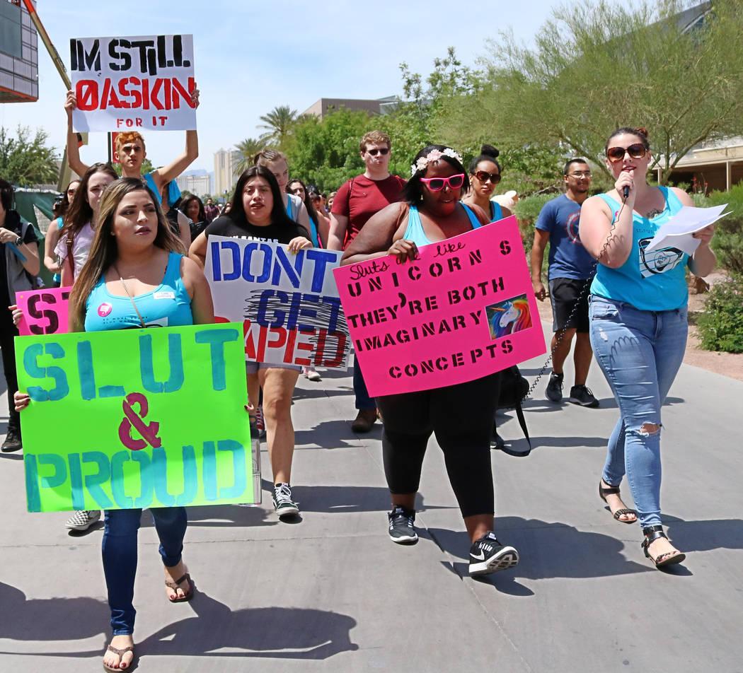 """No More Shame Slut Walk"" makes its way though the UNLV campus, Wednesday, April 26, 2017. Gabriella Benavidez Las Vegas Review-Journal @gabbydeebee"