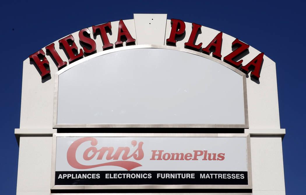 Fiesta Plaza sign on 2201 Civic Drive on Thursday, April 27, 2017, in North Las Vegas. La Bonita supermarket will move into an empty apace at Fiesta Plaza next to Conn's furniture. Bizuayehu Tesfa ...