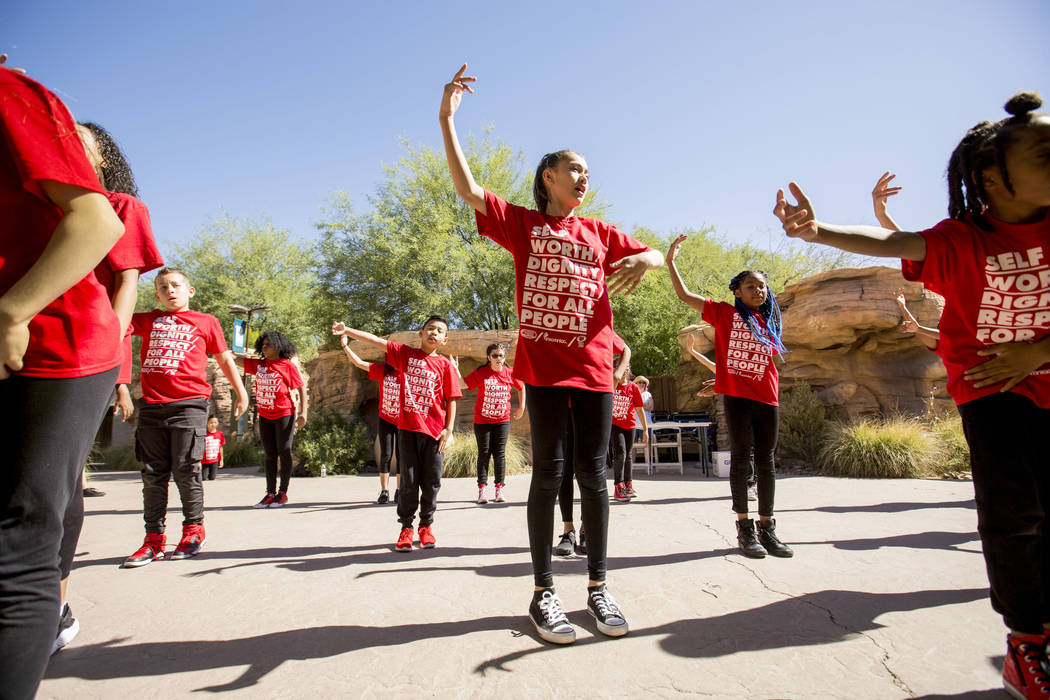 The dance group Culture Shock practice before preforming for the Walk Against Hate, at the Springs Preserve in Las Vegas, Sunday, April 30, 2017. The event is a fundraiser held by the Anti-Defamat ...