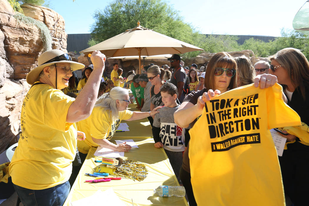 Participants in the Walk Against Hate check in at the Springs Preserve in Las Vegas, Sunday, April 30, 2017. The event is a fundraiser held by the Anti-Defamation League. Elizabeth Brumley Las Veg ...