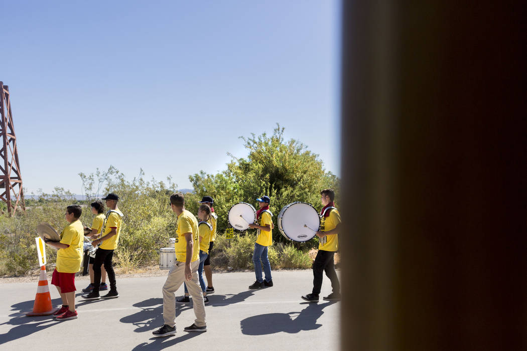 The Desert Oasis High School marching band lead the two mile walk during the Walk Against Hate at the Springs Preserve in Las Vegas, Sunday, April 30, 2017. The event is a fundraiser held by the A ...