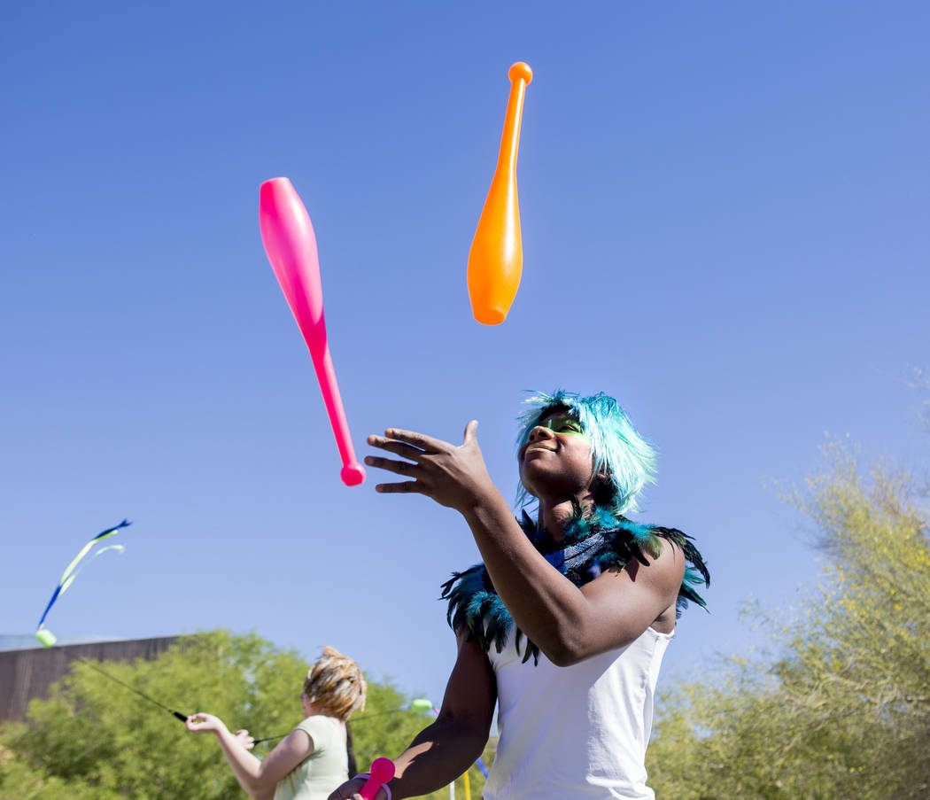 Social CirKISH clown Kyree Evans preforms during the Walk Against Hate in a drum circle at the Springs Preserve in Las Vegas, Sunday, April 30, 2017. The event is a fundraiser held by the Anti-Def ...