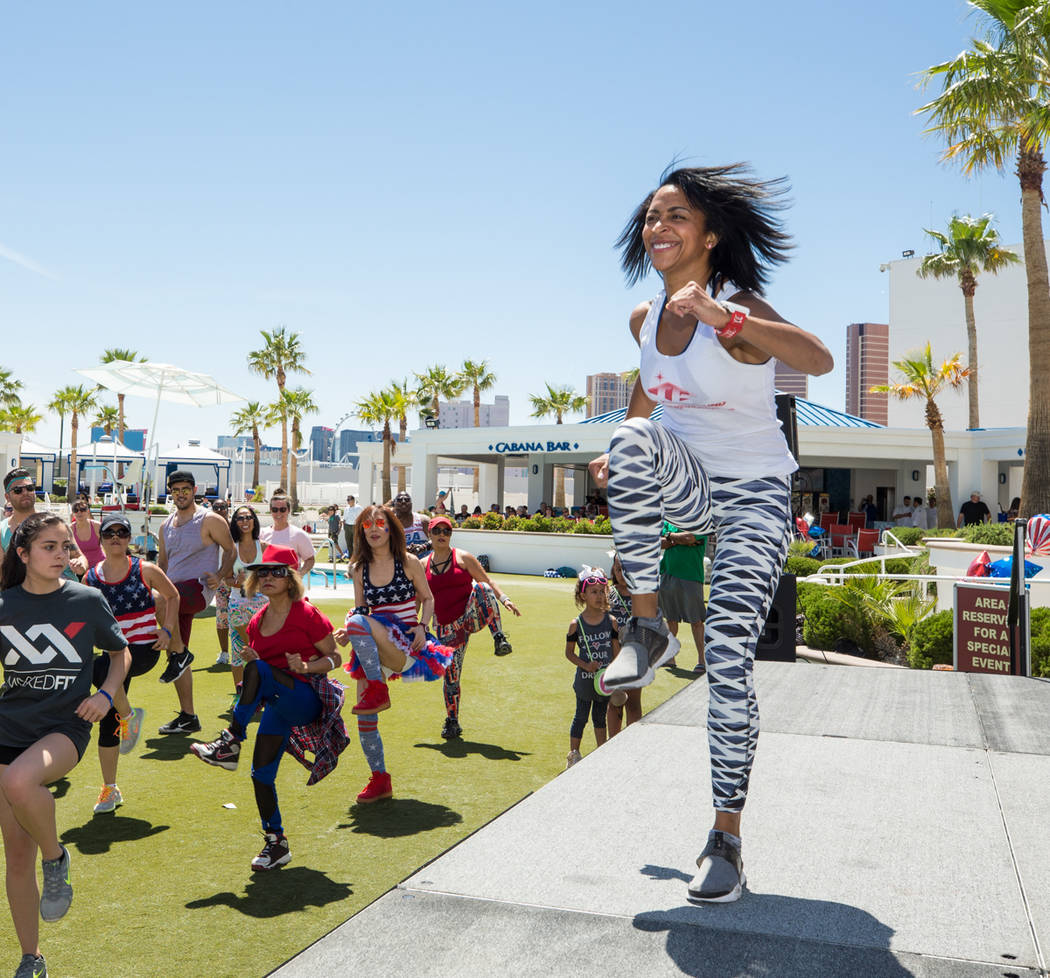 Zumba during a party for Helene Neville at Westgate on Saturday, April 22, 2017, in Las Vegas. (Erik Kabik)