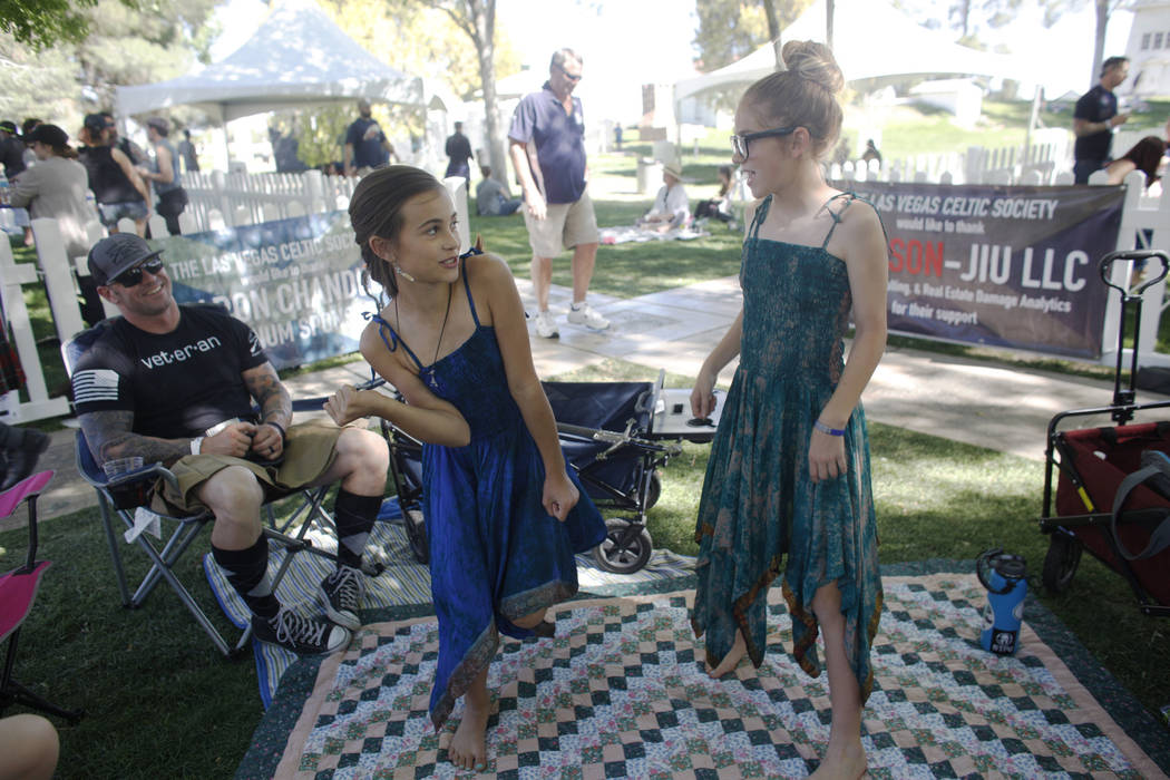 Breleigh Bronsahan, 11, from left, and Ireland Bronsahan, 11, dance around their family at the Las Vegas Highland Games on Sunday, April 30, 2017, at Floyd Lamb Park in Las Vegas. Rachel Aston Las ...