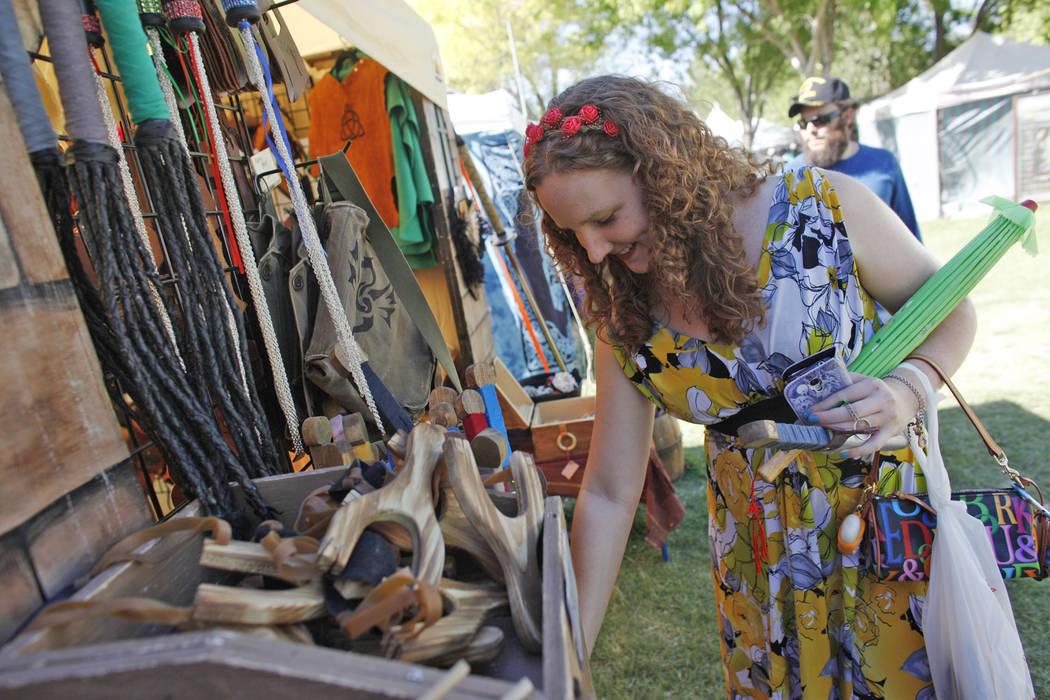 Celeste Mirjanian shops for wooden swords at the Las Vegas Highland Games on Sunday, April 30, 2017, at Floyd Lamb Park in Las Vegas. Rachel Aston Las Vegas Review-Journal @rookie__rae