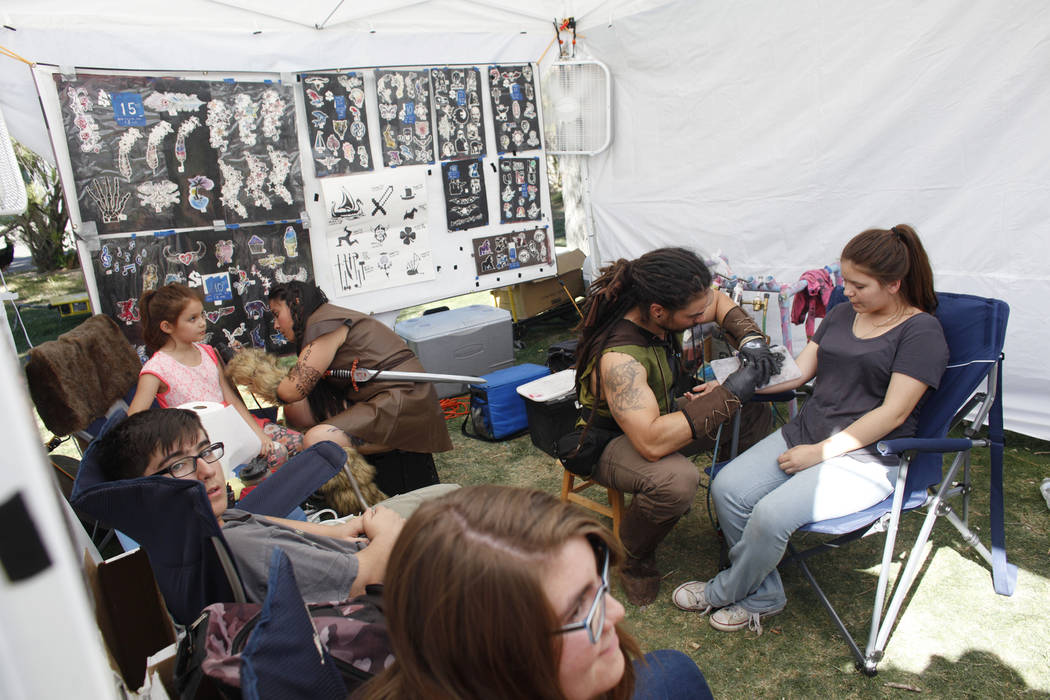 The 4D Artistry booth at the Las Vegas Highland Games on Sunday, April 30, 2017, at Floyd Lamb Park in Las Vegas. Rachel Aston Las Vegas Review-Journal @rookie__rae