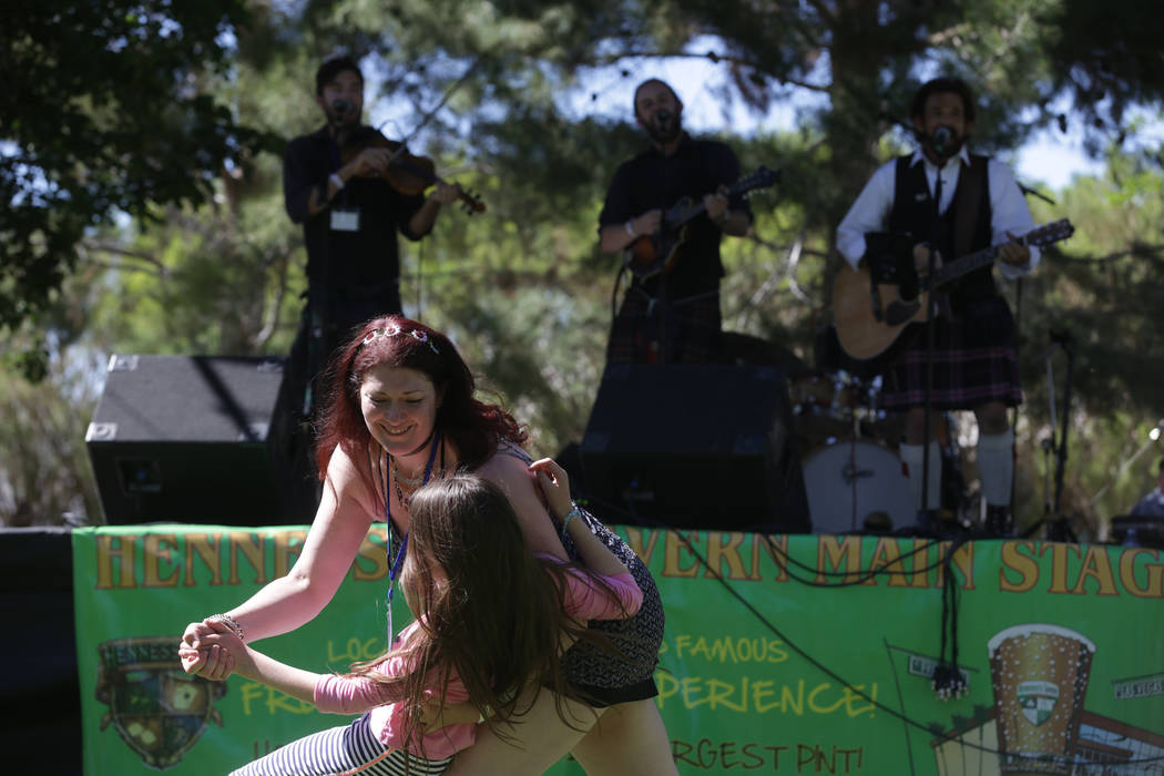 Angela Mott dances with her daughter Sophie Mott, 9, at the Las Vegas Highland Games on Sunday, April 30, 2017, at Floyd Lamb Park in Las Vegas. Rachel Aston Las Vegas Review-Journal @rookie__rae