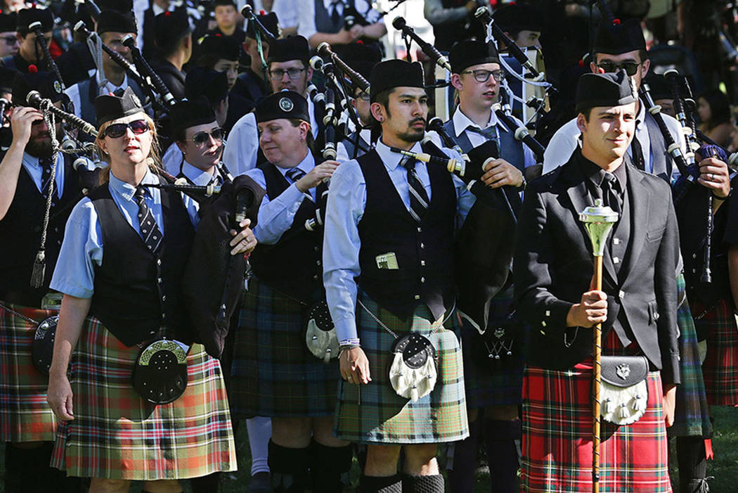 All the bagpipe bands that competed perform together at the Las Vegas Highland Games on Sunday, April 30, 2017, at Floyd Lamb Park in Las Vegas. Rachel Aston Las Vegas Review-Journal @rookie__rae
